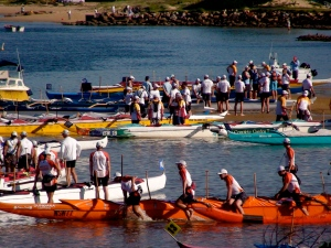 Preparing for the outrigger race.