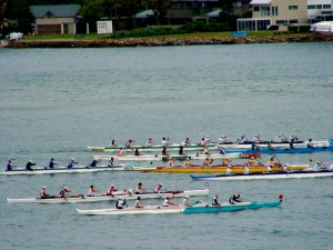Outriggers at the start of the race.