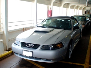 Our Mustang sitting on the Nanaimo ferry.